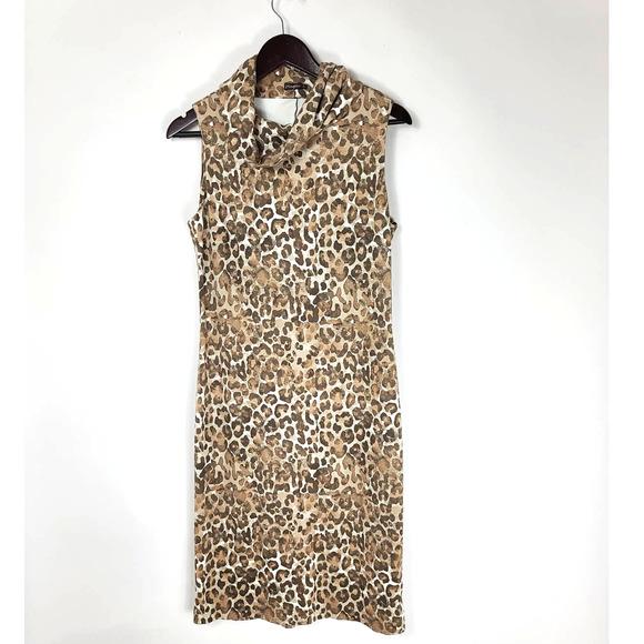 J. McLaughlin Leopard Print Cowl Neck Dress